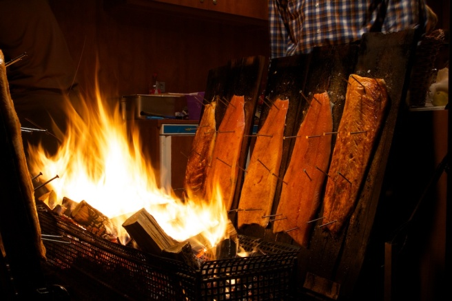 Flammlachs (flame salmon) at the Weihnachtsmarkt - Bonn, Germany